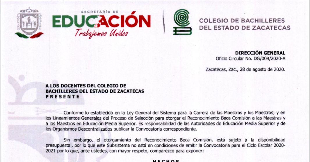 Beca Comisión a las Maestras y Maestros del COBAEZ.